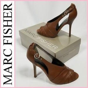 Marc Fisher Genuine Leather Peep-toe Pumps